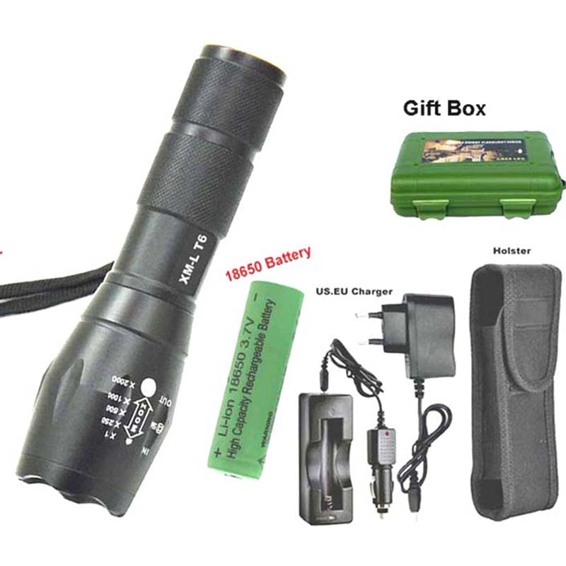E17 XM-L2  Zoom Mini LED Flashlights Outdoor L2 Led Flash Light Hunting Bicycle Light 18650 Battery Charger With Gift Box cree xm l t6 bicycle light 6000lumens bike light 7modes torch zoomable led flashlight 18650 battery charger bicycle clip