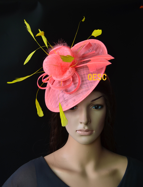 Wholesale NEW Coral pink yellow Big sinamay fascinator hat for Tea Garden  party Royal Races Kentucky e786a00cec24