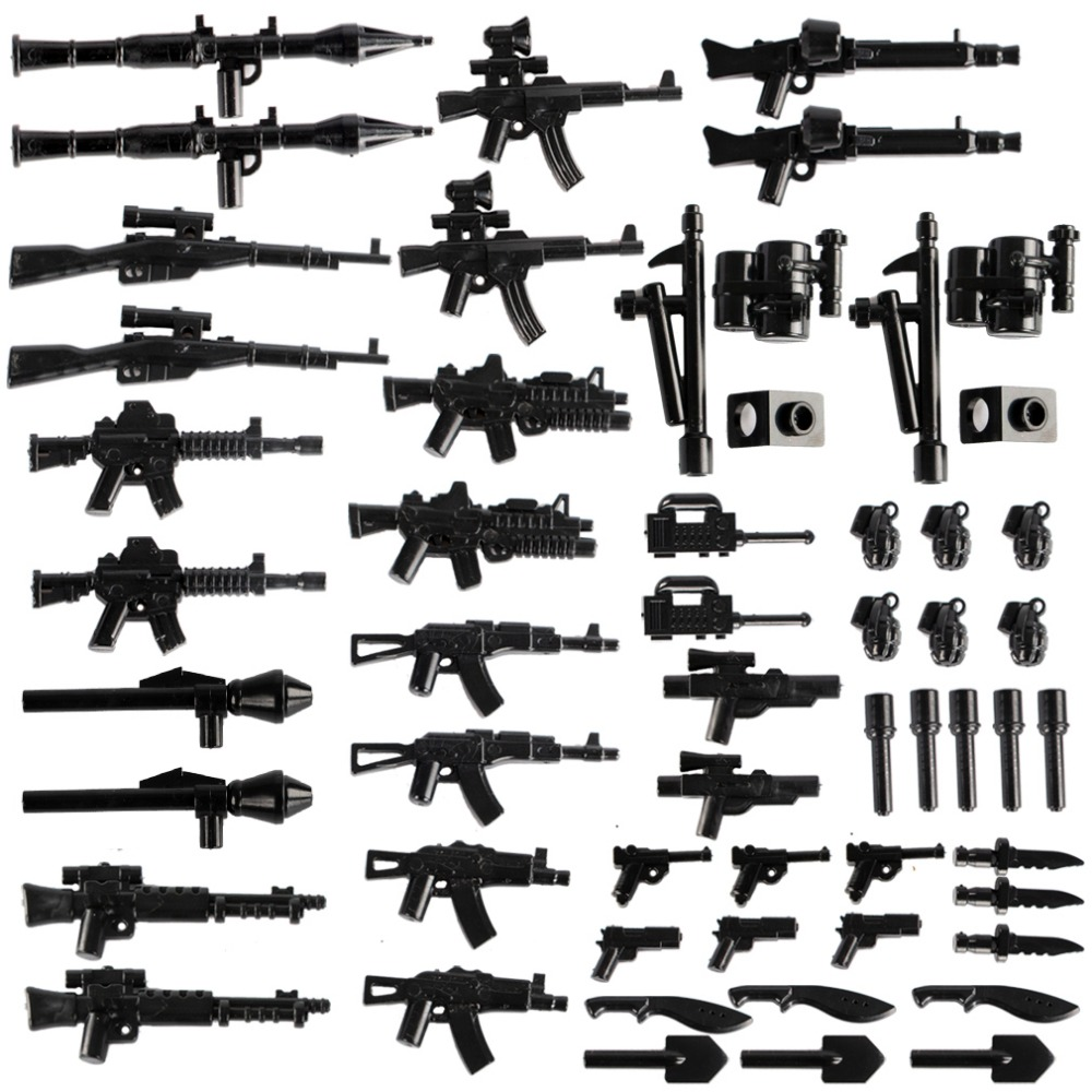 WW2 Military Weapons Pack Building Blocks German Soldiers Figure Accessory City Parts Police Minifigs SWAT Guns Model Blocks Toy