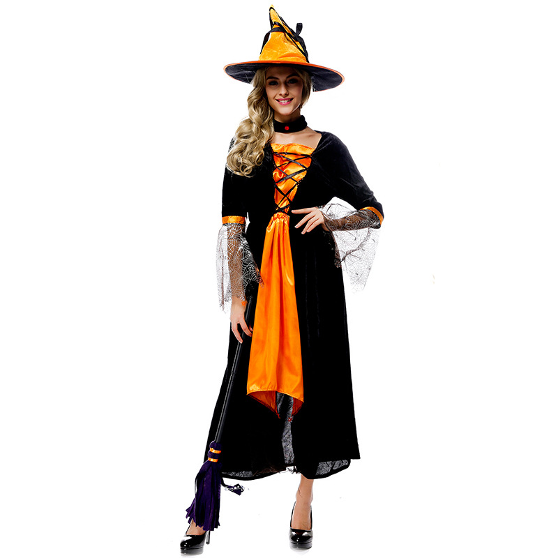 0fe71752cca adult women Witch Halloween Costumes orange and black witch cosplay ...