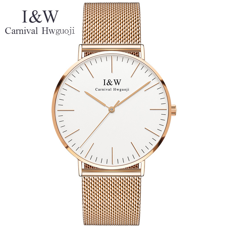 Carnival Mens Watches Top Brand Luxury I&W Ultra-Thin Quartz Watch Men Waterproof Sapphire Crystal 6MM Clock relogio masculino watch women dom top luxury brand waterproof style sapphire crystal clock quartz watches leather casual relogio faminino g 86l 1m