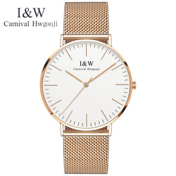 Karnawał męskie zegarki Top marka luksusowe I & W ultra-cienki zegarek kwarcowy mężczyźni wodoodporny szafir kryształ 6 MM zegar relogio masculino