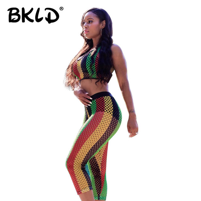 dbc85ee452f BKLD Summer Sets For Women 2018 New Sexy Fishnet Sets Colorful Striped  Sleeveless Crop Tops Sets Pants Women Mesh Club Outfit