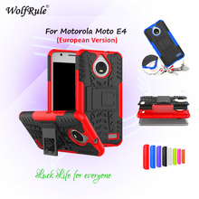 For Cover Motorola Moto E4 Case WolfRule TPU & PC Holder Armor Bumper Protective Back Phone Case For Motorola Moto E4 Cover 5''