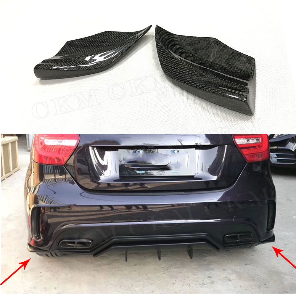 W176 Carbon Fiber & FRP Rear Bumper Side Splitters Spoiler Canards For Benz A Class A180 A200 A250 A45 AMG 2013-2016