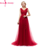 Robe De Soiree Sexy V Back Long Evening Dresses with Appliques High Quality Sleeveless Party Prom Dress Many Colors Available