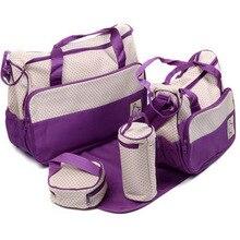Nueva alta calidad 5 cada / set bolsos de mano del panal del pañal Durable bolso de la momia madre bebé / bolsas para la mamá 7 color
