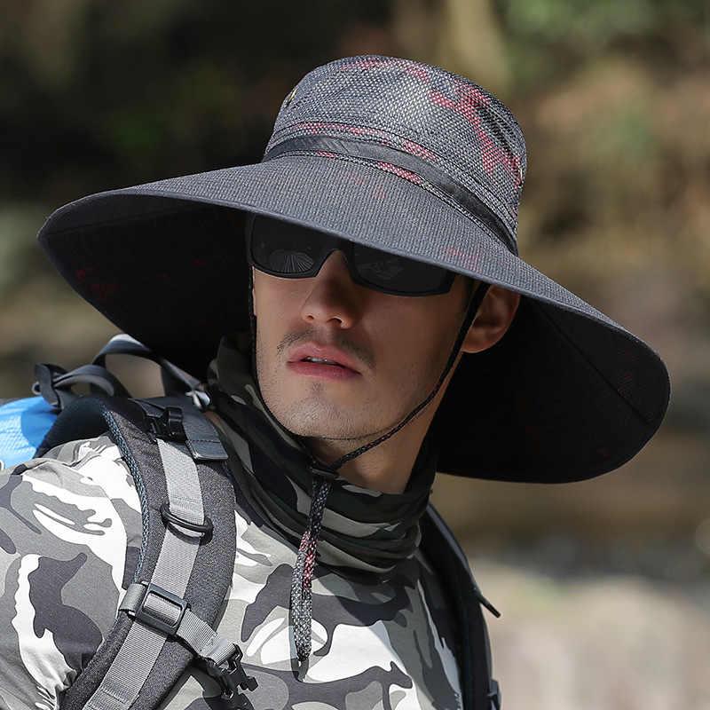 CAMOLAND Camouflage Cappelli a secchiello Per Mens UPF 50 + di Estate Del Cappello Del Sole casual Maschio Esterno Del Cappello di Pesca Lungo Tesa Larga Boonie cap