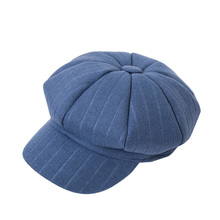 Women Winter Beret hat For Girl Newsboy Cap Plaid Cotton Autumn Femal Female
