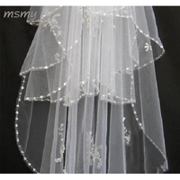 Cheap Wedding Veil With Beaded Pearls Soft Tulle Bride Bridal Veil 2018 White Ivory Wedding Accessories