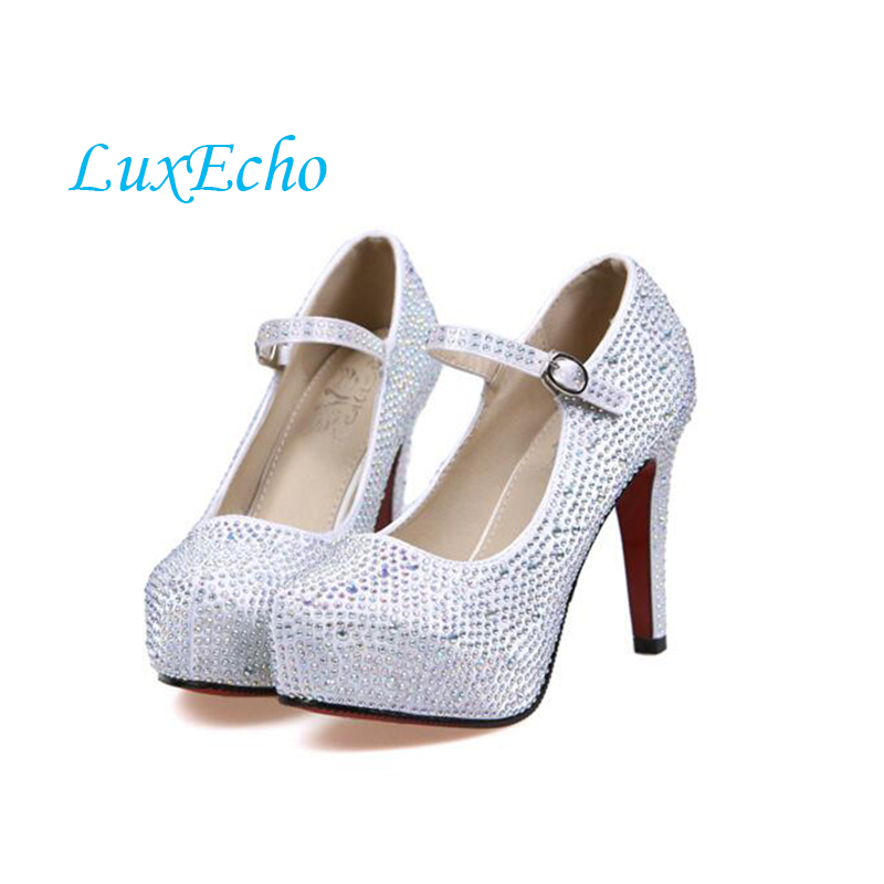 LuxEcho Women Crystal stones wedding shoes Bride fashion shoes woman High heels Platform 11cm heel shoes with Ankle strap 2017 fashion flowers diamond pendant bride shoes high with fine with photography single shoes for women s shoes wedding shoes