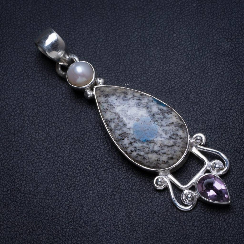 Natural Blue Azurite,River Pearl and Amethyst Handmade Unique 925 Sterling Silver Pendant 2.25