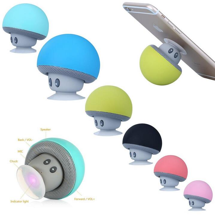 Portable Mini Mushroom Bluetooth Speaker Handsfree With Mic Suction Cup Sucker Speaker For iPhone iPAD Samsung LG HTC