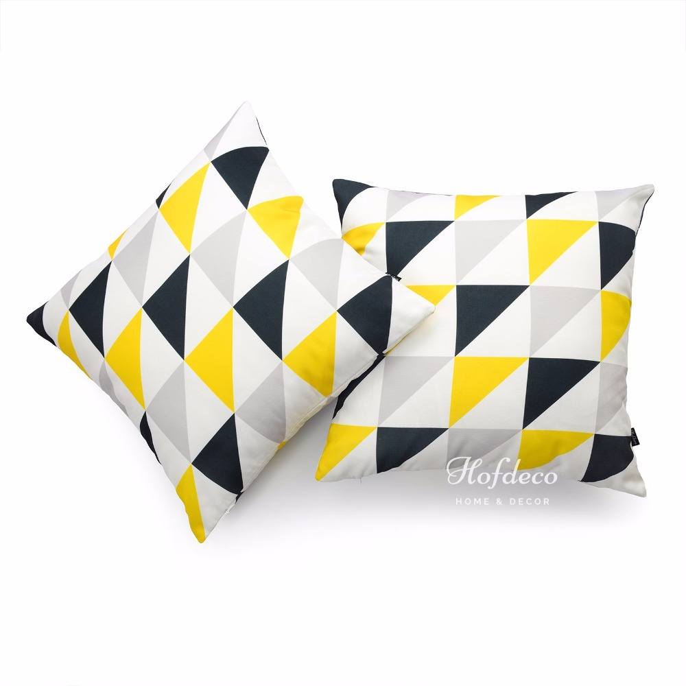 2Pcs Throw Pillow Cover Set Canvas Yellow Black Gray ...