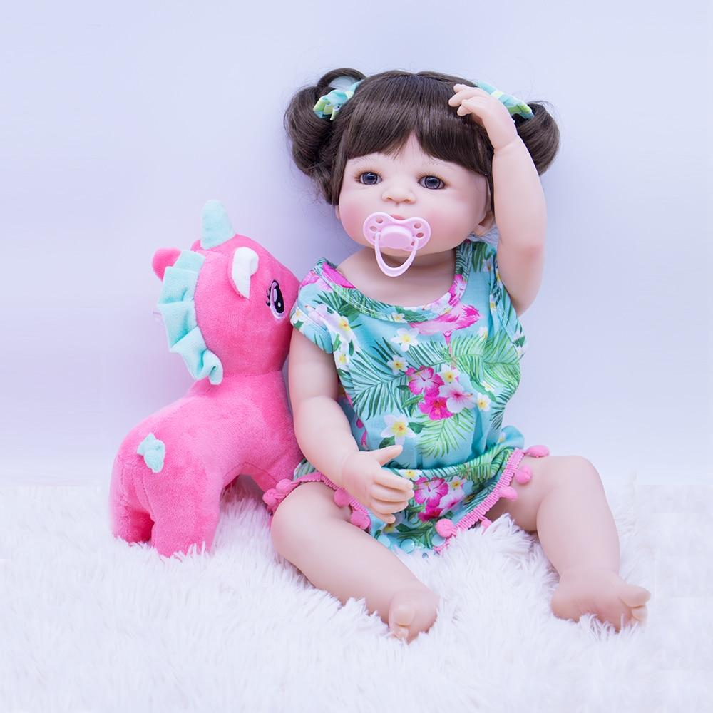 Full Silicone Body Reborn Baby Doll With Soft Unicorn Toy Gift Non Toxic Vinyl Adorable Lifelike Toddler Bebe Kids Playmates Toy