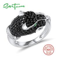Silver Leopard Rings For Woman Black Spinel Cubic Zirconia Women Rings Pure 925 Sterling Silver Party