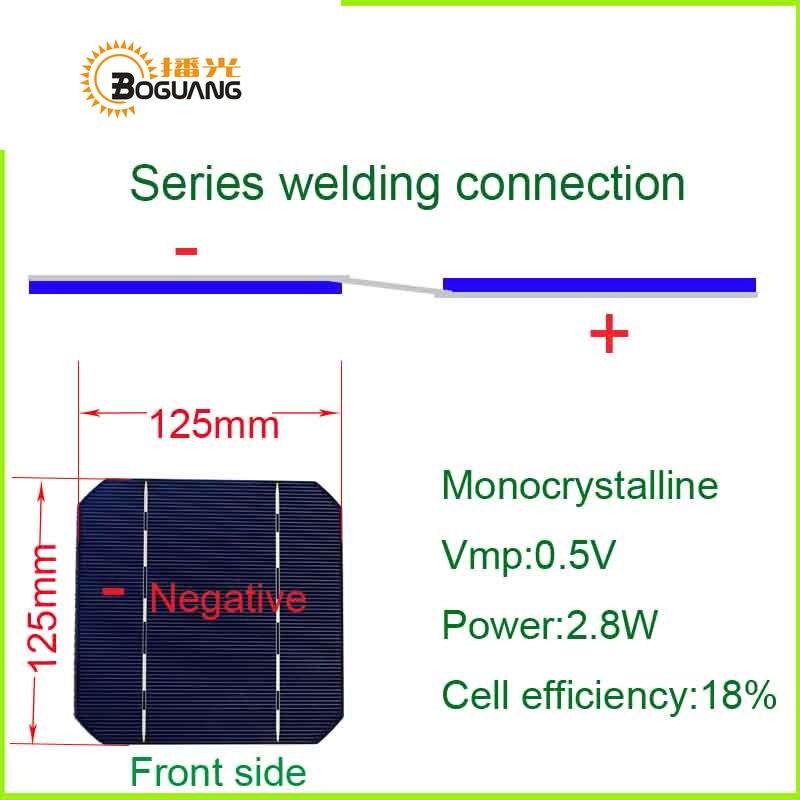 solar com 125*125mm monocristalino uso de célula