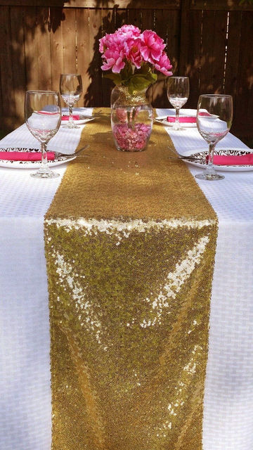14 X108 36cmx274cm Luxury Gold Sequin Table Runner Wedding Party