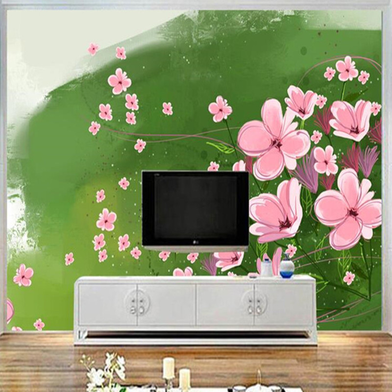 Cartoon Wallpapers Pink Flower Mural Wallpaper for Kids Room Wall Papers Home Decor Green Grass Photo Wallpapers for Bedroom dsu new butterfly flower fairy wall sticker kids room bedroom removable decor art home mural