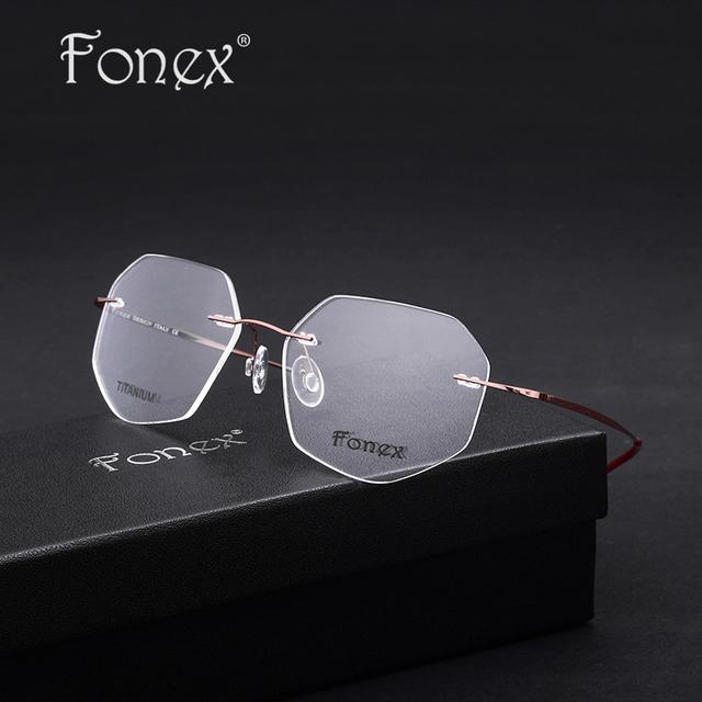 Fonex 2017 mulheres/feminino óculos sem aro titanium óculos polígono quadrado unisex miopia óptico quadro rosa/roxo/vermelho cor