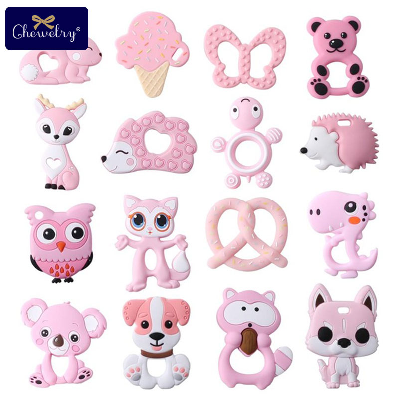 Cheap Baby Teether 1pc Silicone Rodents Animal Pendant Silicone Beads Teether Tiny Rod BPA Free DIY Baby Product Teething Toys