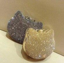 New Women's Shiny Rhinestones Hello Kitty Clutch Sided Full Diamond Evening Bag Wedding Party Handbag Purse Ladies Shoulder Bag