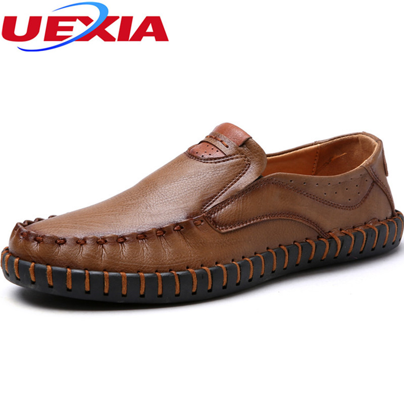 Driving Slip-On And Lace-Up Casual Leather Loafers Falts Men Shoes High Quality Rubber Bottom Handmade Manual Sewing Moccasins fashion young man red casual shoes men luxury high top toe mens falts british trend flat heel men s loafers shoes