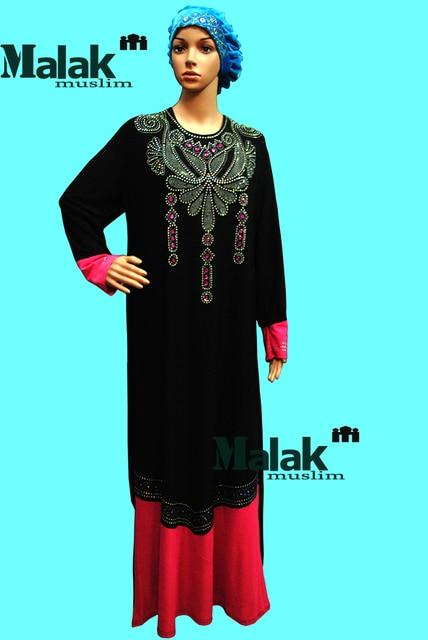 Мусульманин платье абая исламской одежды Ближний восток Малайзия Индонезия мусульманскую одежду с длинными рукавами лоскутное платье Исламская одежда