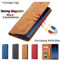 Funda de cuero de lujo para Samsung Galaxy S9 Plus, cartera magnética con tapa para tarjetas, soporte para libro, cubierta de protección, 360