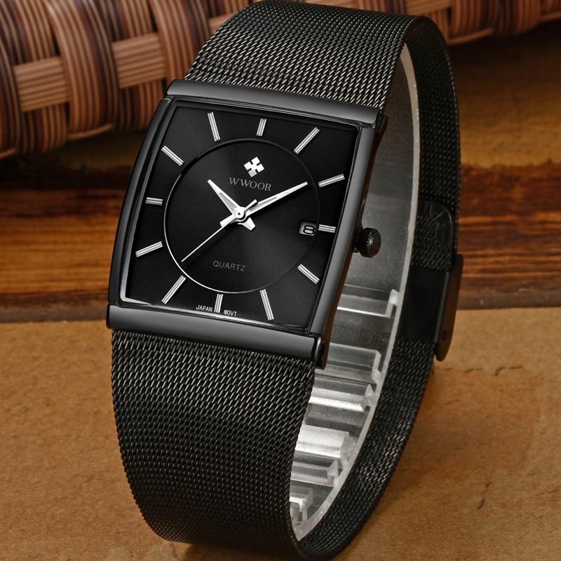Image 4 - 2019 WWOOR Top Brand Luxury Mens Square Quartz Watches Male Waterproof Date Clock Black Mesh Stainless Steel Wrist Watch For MenQuartz Watches   -