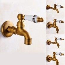 Antique Brass Wall Mount Washing Machine Faucet Decorative Garden Water taps Mop Faucet Basin Bibcock Taps Single Cold Tap KD060