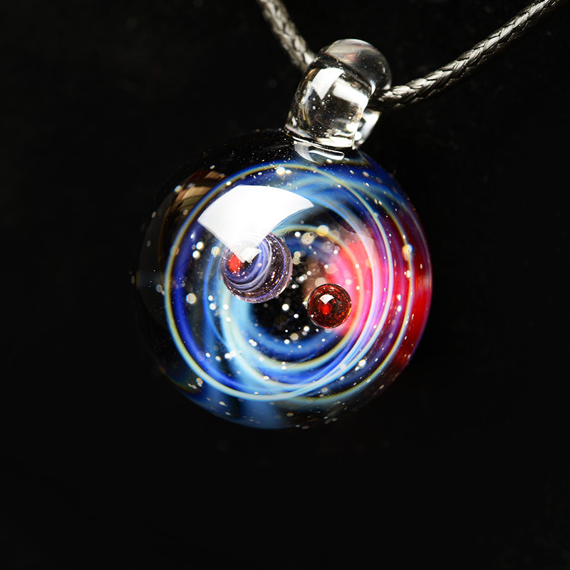 Double Planet Universe Galaxy Glass Necklace Space Glass Nebula Cosmic Pendant Women Bride Necklace Wedding Gift