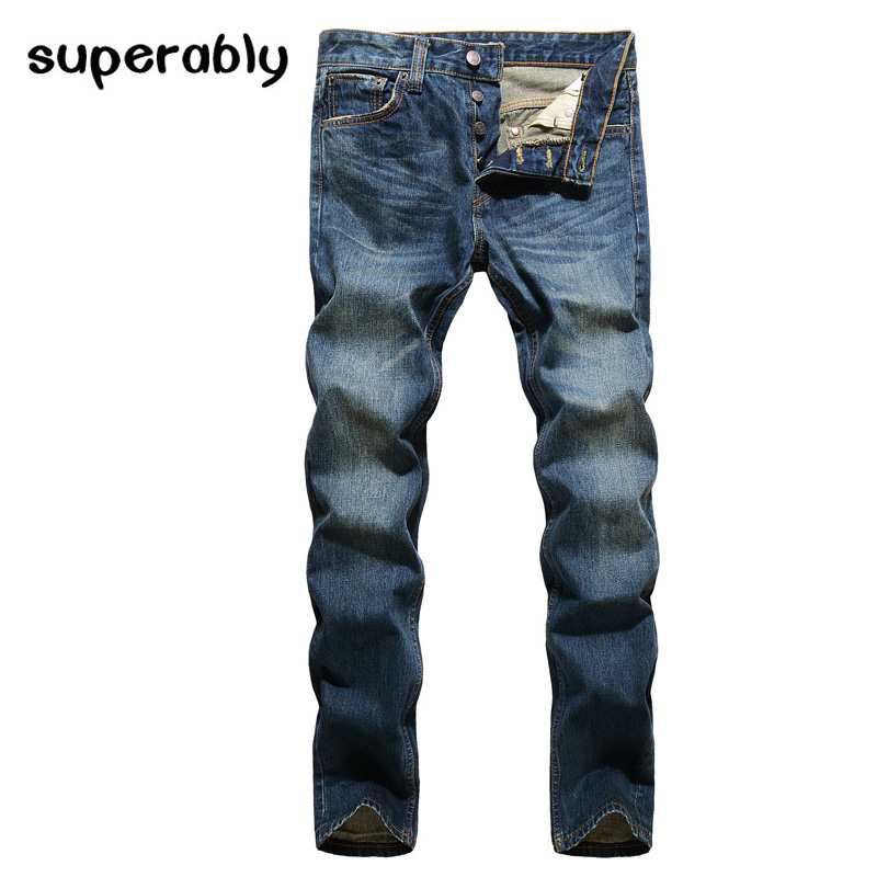 Fashion Retro Design Men Jeans High Quality Straight Fit Denim Buttons Jeans Mens Pants Classic Style Dark Blue Stripe Jeans classic mid stripe men s buttons jeans ripped slim fit denim pants male high quality vintage brand clothing moto jeans men rl617