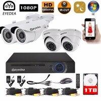 Eyedea 8 CH Surveillance DVR Video Recorder HD 2 0MP Bullet Dome Outdoor Waterproof Night Vision