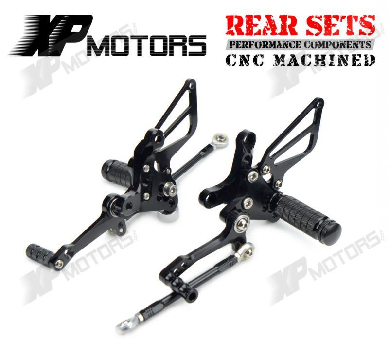 Black CNC Adjustable Racing Rearset Footpeg Pedals Rear Sets For Ducati 1198 /S/R 2009 2 ...