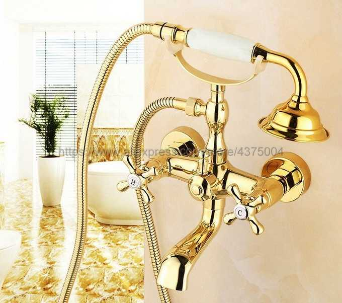 の豪華ゴールド真鍮ウォールマウント電話ユーロバスタブの蛇口ミキサータップ w/ハンドヘルドスプレーシャワーヘッド Ntf123