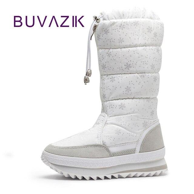 2018 neue warme schnee stiefel high fashion frauen winter nicht-slip dicker baumwolle schuhe frau plüsch mitte wade botas mujer schneeflocke