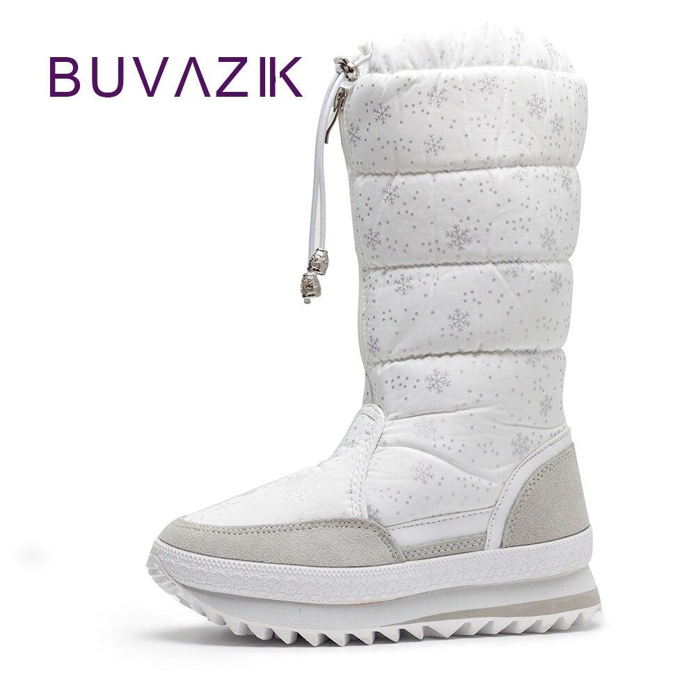 Nouveau Chaud Coton Mujer grey White En Peluche Femmes Botas deep Hiver Épais 2018 Chaussures black Mi Neige Haute Blue Bottes Couture Non mollet De slip Femme Flocon TcF3KJl1