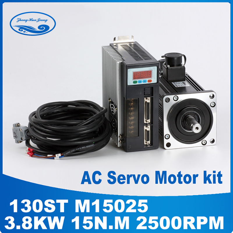 3.8KW 130ST-M15025 15N 130ST servo motor da CA. M 2500 rpm AC Servo Motor e motorista com cabo High-power