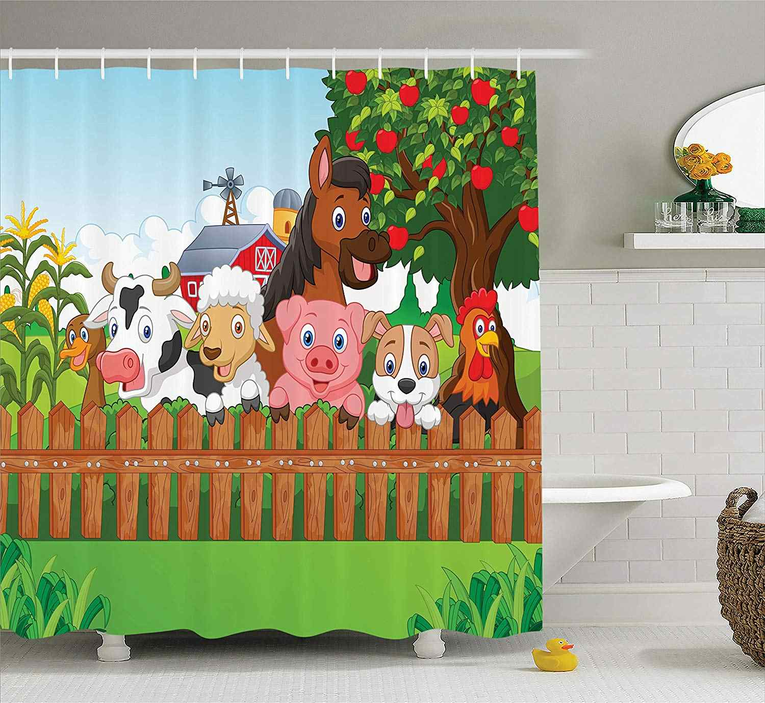 Cartoon Shower Curtain Collection of Cute Farm Animals on the Fence Mascots with Dog Cow Horse Fabric Bathroom Shower Curtain