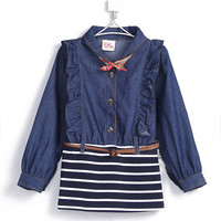 Осенняя джинсовая одежда для девочек платье с длинными рукавами для маленьких детей 1929