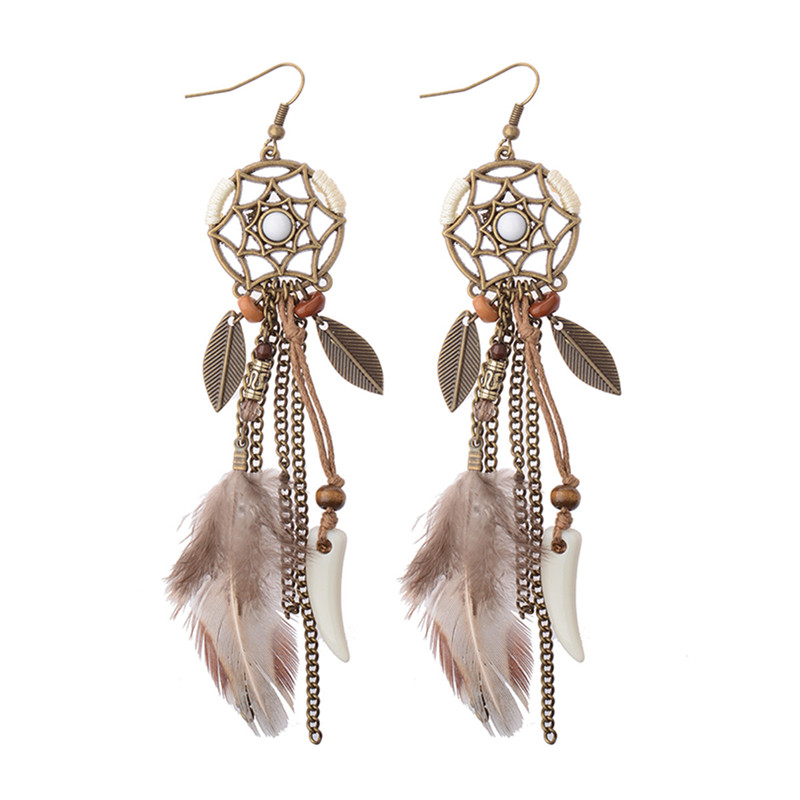 Handgjorda kvinnomode Long Drop Feather Earrings Bohemia Dreamcatcher Feather Tassel örhängen Tribal America Indian örhängen