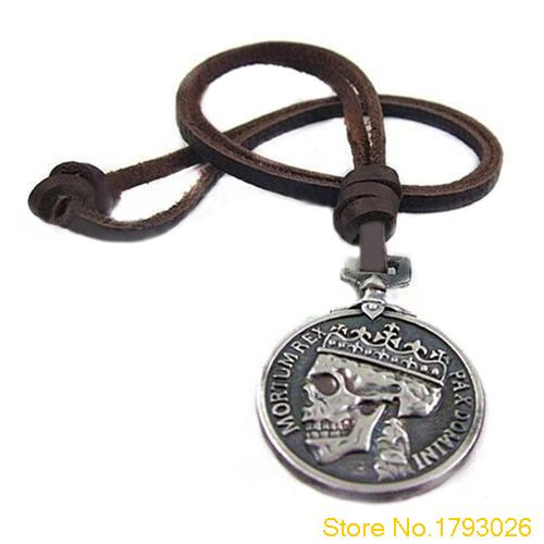 Mens Charms Silver Skull Pendant Genuine Leather Fashion Vintage Necklace for Cloth Acce ...