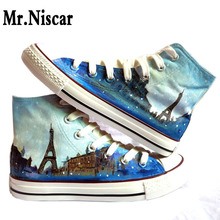 LEO Fashion Couples Hand Painted Canvas Shoes High Top Style Iron Tower Landscape Pattern Men's Women's Hand-Painted Shoes
