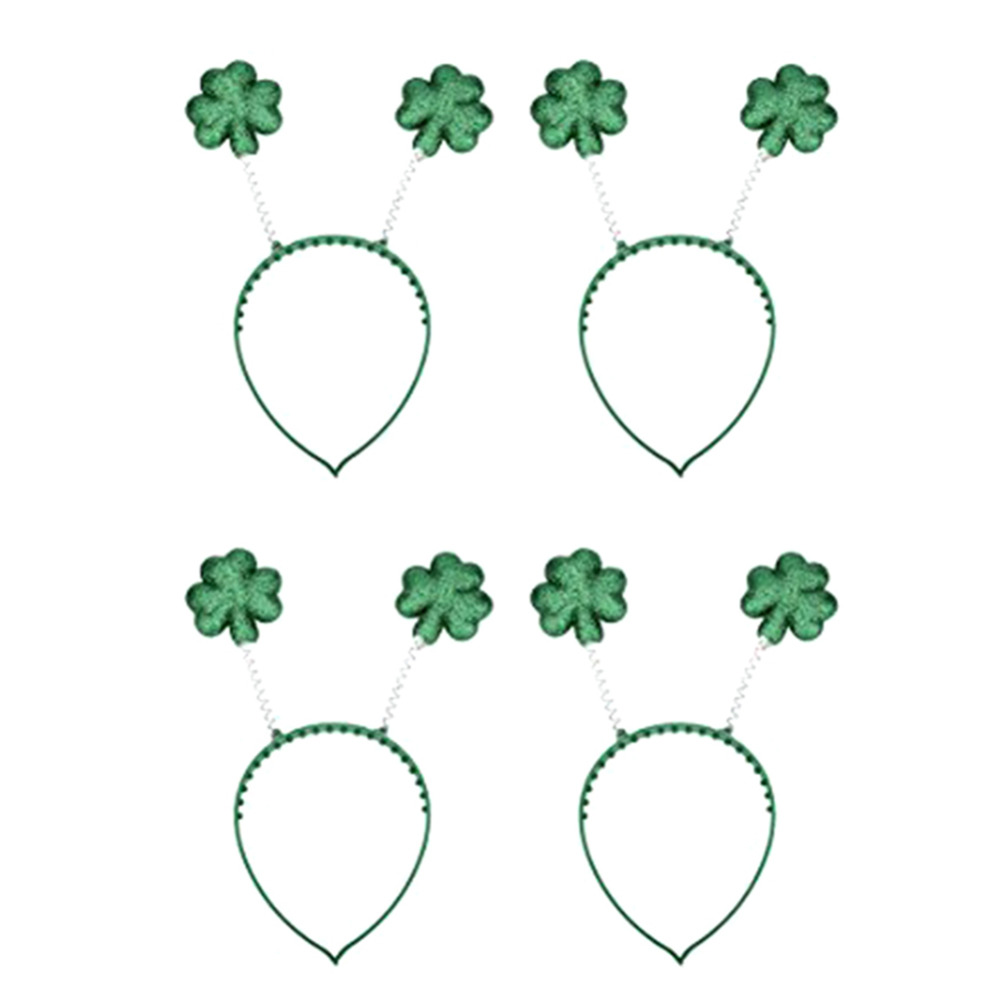 Fashion 4pcs Lucky Green Shamrock Hairbands for Saint Patrick Day Trency Adult accessory for Irish