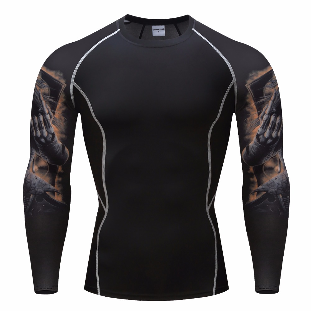 In 2018 the man compresses the base coat Under the Skin New long sleeve camouflage T-shirt  men The gym European size S-3XL