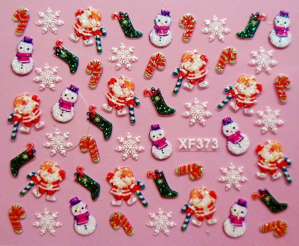 3D Christmas gift design Water Transfer Nails Art Sticker decals lady women manicure tools Nail Wraps Decals XF373 12 models set gold 3d design christmas nail sticker bling bows nail art manicure stickers decals for women nails decoration