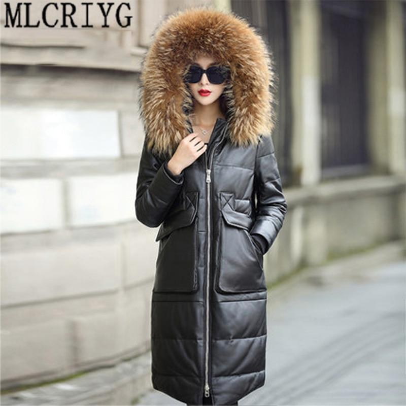 Зима теплая Толстая Утка Пуховик Для женщин парки Новый 2018 Кожаные куртки женские натуральный мех пальто jaqueta de couro