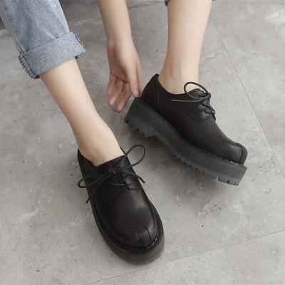 Black Harajuku Leather Platform Shoes Lace-Up Low Heel Shoes Pumps Woman British Style Shoes 2325