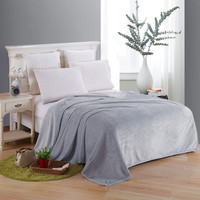 Soft Blanket On The Bed Polyester Coral Fleece Plaid Gray Color Adult Winter Warm Sheets Coverlet